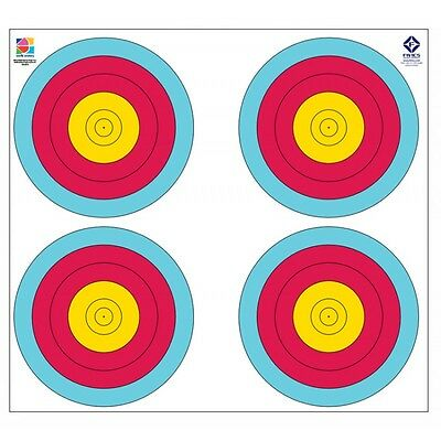 FIVICS FITA WATERPROOF TARGET FACE 80CM 5 / 6 RING 4 SPOT Faces (Qty 10)