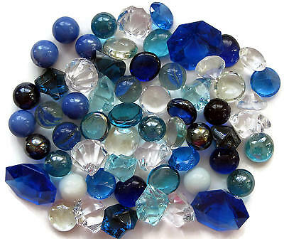 Marbles Blue Assorted Clear Glass Acrylic Round Chunk 60Pc Mosaics Kids Crafts