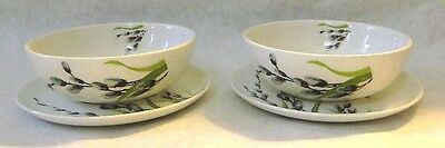 """W.s. George -  Pussywillow - (2) Cereal/soup Bowls With Underplates -- 9"""""""