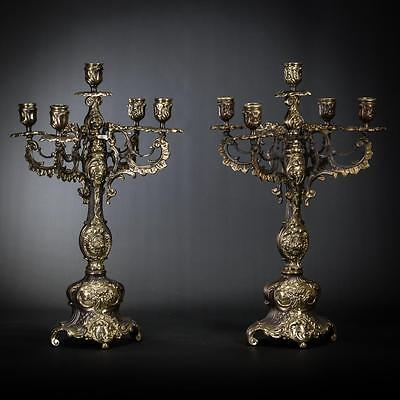 "17"" Pair of Antique Bronze Candelabras 5 Tier 2 Baroque Vintage Candle Holders"