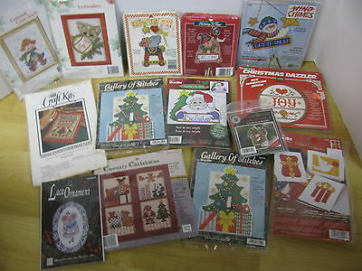 Mixed Lot 14 Christmas Cross Stitch Embroidery Felt Card Kit Bucilla Mill Hill