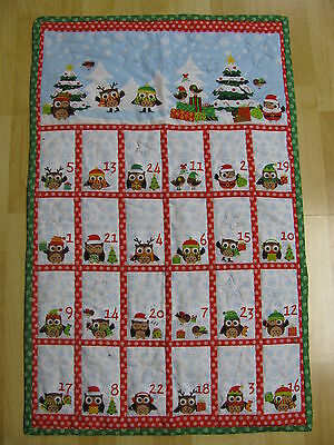 Christmas Holiday Advent Calendar Owl Quilted Fabric Handmade 20x32 You Finish