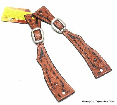 Medium Oil Square End Floral Tooled Spur Straps w/ Black Inlay Horse Tack