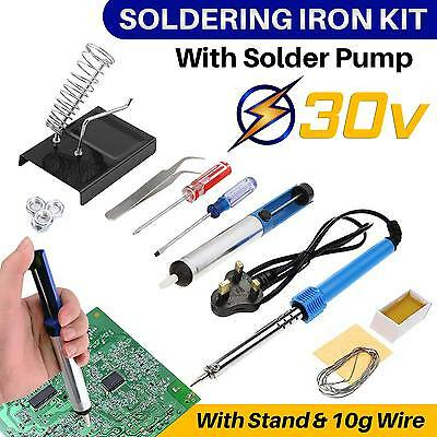 Soldering Iron Kit Powered Mains 30W Practical Stand Solder Pump 10g Of Wire UK