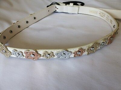 BNWT M&S Girls Beautiful White Belt with Silver & Gold Flowers, Size 4-6 yrs New