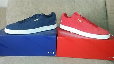 94b273a831f4bf PUMA Suede Classic East   West NBA Toronto 2016 Both RED   BLUE ...