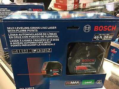 Bosch GCL 2-160 S 65ft Self-Leveling Cross-Line Laser w/ Plumb Points Level NEW
