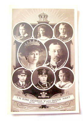 Vintage Photo Postcard.King George V & Queen Mary &Their Children Royalty Rotary