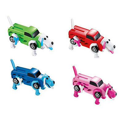 14CM cool Automatic transform Dog Car Vehicle Clockwork Wind up toy  kids WB