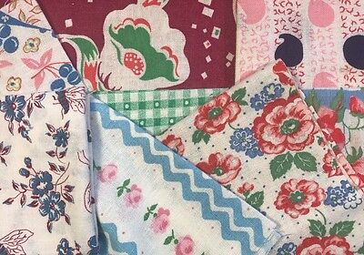 Vintage Feed/Flour Sack Fabric 8 Pcs Pink Navy Blue Green Plum Florals 060320