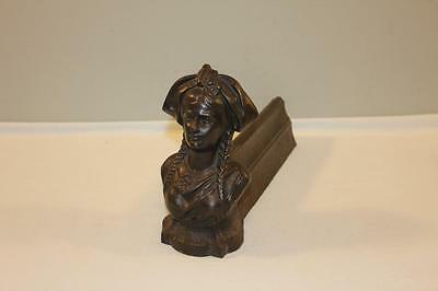 Antique Colonial Style Womans Bust Cast Iron Boot Scraper Marked XII-BL
