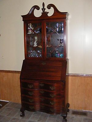 Georgian Style Serpentine Secretary Desk and Bookcase Ball and Claw Foot