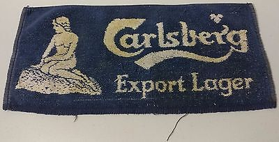 "Vintage - Carlberg -Export Lager, with Woman - Bar towel -17"" x 8"" -Great - READ"