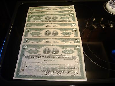 20 Lehigh Coal and Navigation Company Stock Certificates 1930's