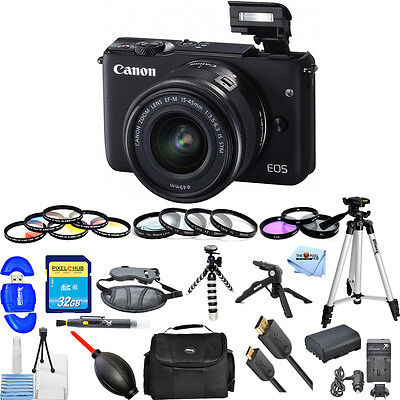 Canon EOS M10 Mirrorless Digital Camera W/15-45mm Lens (Black) MEGA BUNDLE NEW!!