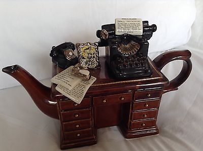 Cardew Collectable Novelty Lge Writers Desk Teapot Rare Blond/gold Edged Condtn