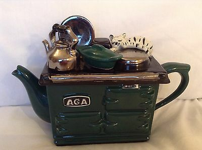Teapottery Large Collectable Novelty Teapot Casserole & Sleepy Cat On Green Aga
