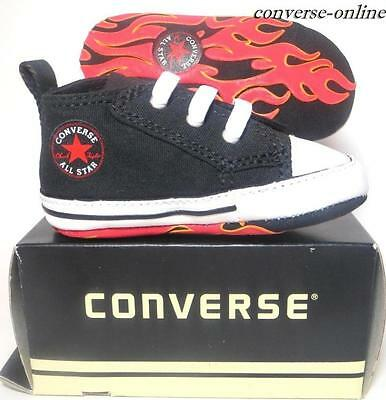 Baby Boys CONVERSE All First Star FLAMES SLIP ON Crib Trainers Shoe 20 UK SIZE 4