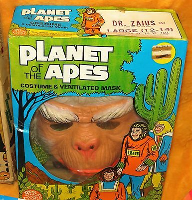 Planet of the Apes 1970s Ben Cooper Dr Zaius costume and mask mib vintage