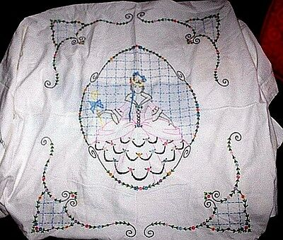 VINTAGE Hand-Embroidered Twin Bedsheet (?), Little Bo Peep, 83 x 78, CLEAN!