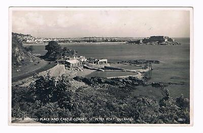 Real Photo B/w  Postcard  - The Bathing Place & Castle Coronet , St Peter Port -