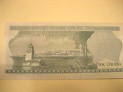 Old 10 Lira Turkey Paper Currency Note - circa 1970's