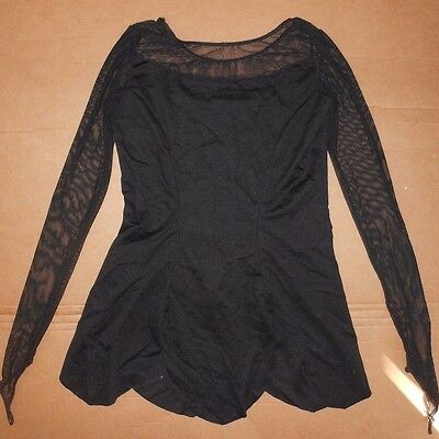 NWOT black top mesh sleeves scallop hem Small adult no gold