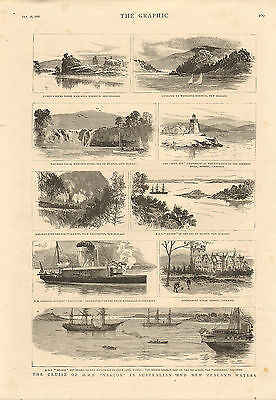 1886 steel engraving from the graphic - h.m.s. nelson in australian waters