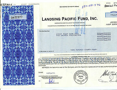 184 Share Landsing Pacific Fund, Inc. Stock certificate