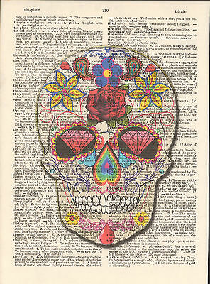 Candy Skull Day Dead Hippy Altered Art Print Upcycled Vintage Dictionary Page