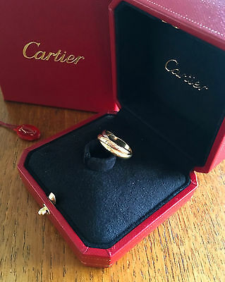 Cartier Tri-colour Gold Logo Engraved Rolling Trinity Ring Certificate & Papers