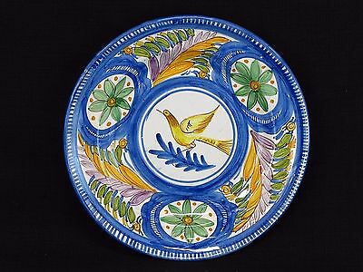 """Large Vintage Hand Painted Italian Pottery Floral Bird Design Plate 12 3/4"""""""