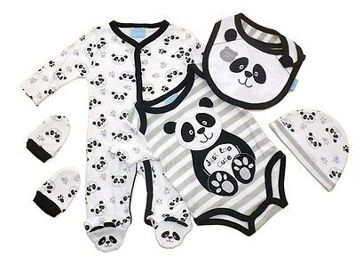 5 Piece Baby Outfit Layette Clothing Gift Set Panda Design by Just Too Cute