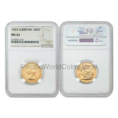 Great Britain 1963 Sovereign Gold Coin NGC MS63