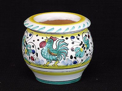 Small Italian Pottery Hand Painted Rooster Two Piece Flower Pot Siena Italy