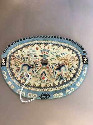 19th Cent Chinese Embroidery Pouch Foo Dog Design