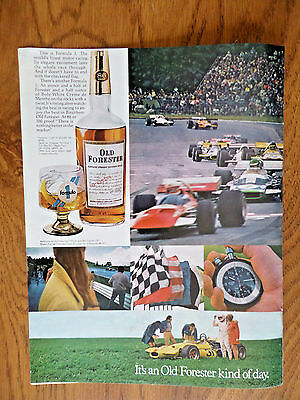 1971 Kentucky Old Forester Whiskey Ad Formula 1 Auto racing Theme Set of Glasses