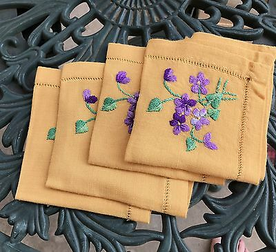 Vintage Set Of 4 Yellow Dinner Napkins Hand Embroidered Flowers Cottage Boho