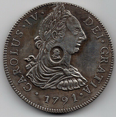 1791 8 Reales SPAIN Counterstamped for UK Use Prior To 1804 Dollar...NOT SILVER