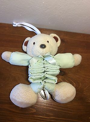 Carters Just One year Bear Green White Tan Musical Pull Down Plush Crib