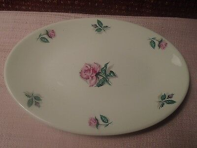 """Edwin M Knowles China Rose and Leaf Small Platter Underplate 8"""" 1951"""