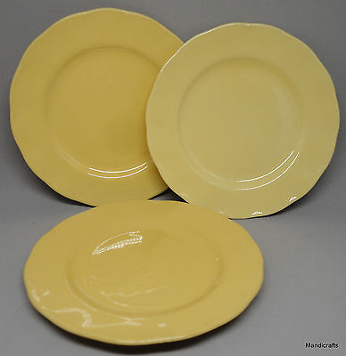 Grindley Petalware Bread Side Plate x 3 Laburnum Yellow Scalloped Vintage