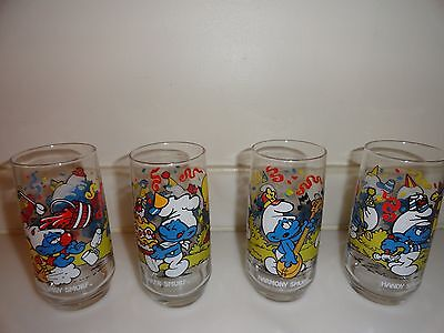 Vintage Lot of 4 Smurf Drinking Glasses Tumblers 1983 Clumsy Baker Harmony Handy