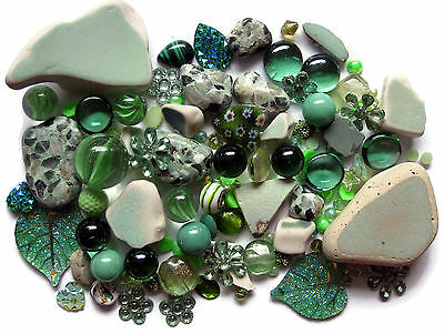 Mosaic Pieces Tiles Beach Pottery Beads Embellishments Marbles 110+ Pcs Green