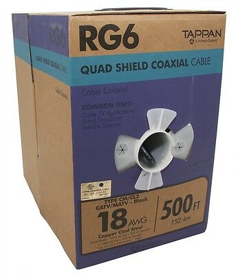 Southwire 500-Ft 18 AWG RG6-Quad Shield Black Coax Cable Pull Box Outdoor Use