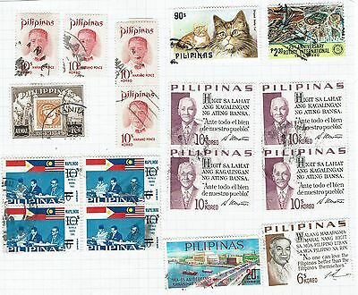 Philippines Stamps  small collection  on old album pages