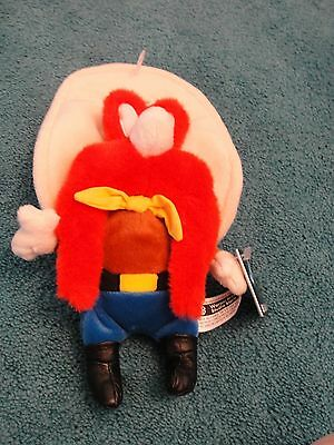"1998 WARNER BROTHERS STUDIO STORE YOSEMITE SAM 11"" PLUSH BEAN BAG TOY new w tags"
