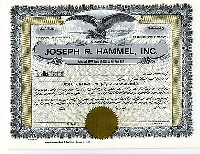 5  UnIssued    JOSEPH R. HAMMEL, INC Stock Certificates