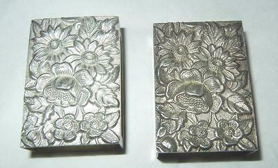 (2) S. Kirk & Son Sterling Silver Repousse Rose Match Box Holders Excellent