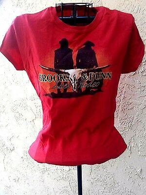 Ladies 2010 Brooks & Dunn Last Rodeo Concert Tee Graphic Country Shirt sz S Red